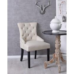 Scaun din lemn masiv cu picioare negre si tapiterie crem