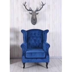 Fotoliu din lemn masiv cu picioare negre si tapiterie albastra