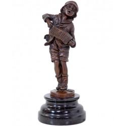 Copil muzicant - statueta din bronz pe soclu din marmura