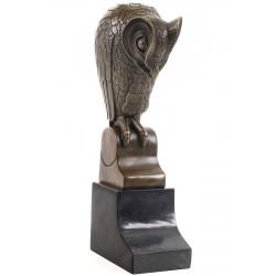 Bufnita stilizata- statueta din bronz pe soclu din marmura