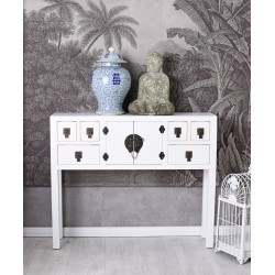 Consola exotica din lemn masiv alb