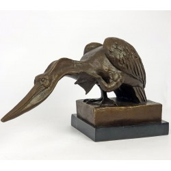 Pelican stilizat - statueta din bronz pe soclu din marmura