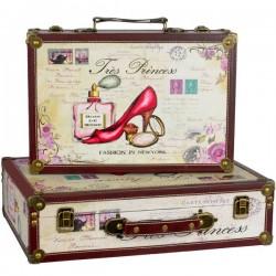 Set doua valize nostalgice din lemn pentru dive