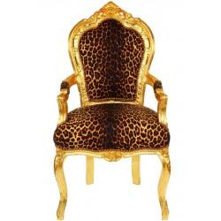 Semifotoliu baroc din lemn masiv auriu cu tapiterie din catifea leopard