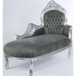 Sofa din lemn masiv auriu cu tapiterie din catifea gri