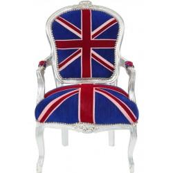 Scaun baroc din lemn masiv argintiu cu tapiterie cu steagul Regatului Unit