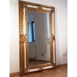 Oglinda monumentala din cristal cu o rama alb cu auriu