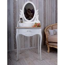 Masa de toaleta din lemn masiv alb cu blat bej