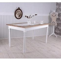 Masa rustica dining din lemn masiv alb cu blat bej