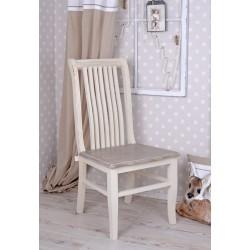 Scaun rustic alb din lemn masiv cu sezutul maro