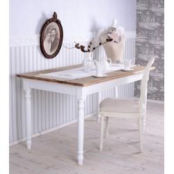 Masa bucatarie din lemn masiv alb cu blat bej