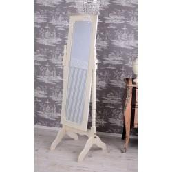 Oglinda alba de toaleta cu suport de podea