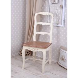 Scaun rustic alb din lemn masiv cu sezutul bej