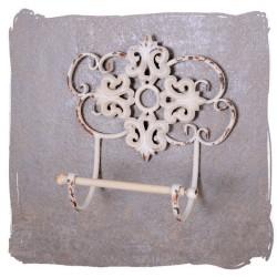 Suport pentru hartie igienica pentru baie din metal alb antichizat