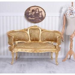 Sofa Maria Antioneta din lemn masiv auriu cu tapiterie aurie