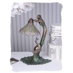 Lampa Art Nouveaux cu o femeie cu un paun