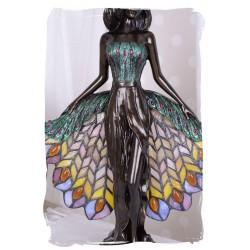 Lampa Tiffany cu o femeie cu rochie cu trena