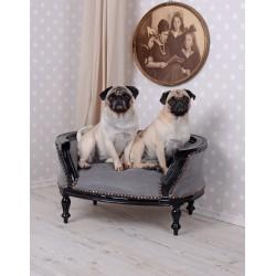 Canapea pentru caine din lemn masiv negru cu tapiterie gri