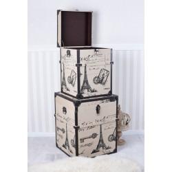 Set doua cufere din lemn cu Paris