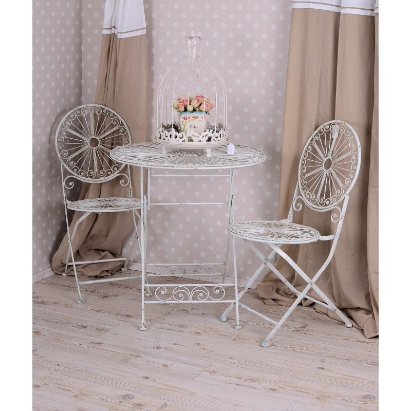 scaun shabby chic din fier forjat antik white. Black Bedroom Furniture Sets. Home Design Ideas
