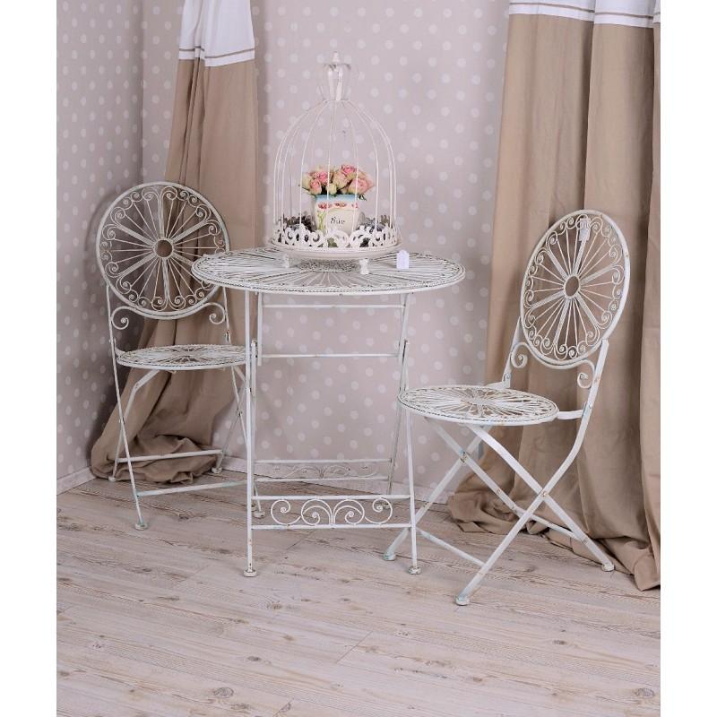 scaun shabby chic din fier forjat antik white. Black Bedroom Furniture Sets. Home Design Ideas