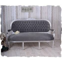 Sofa Madame Pompadour din lemn masiv argitiu si tapiterie gri