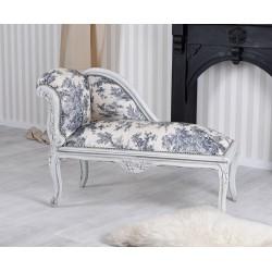Sofa din lemn maiv gri cu tapiterie alba cu albastru