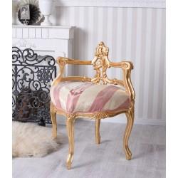Scaunel deosebit din lemn masiv auriu cu tapiterie colorata